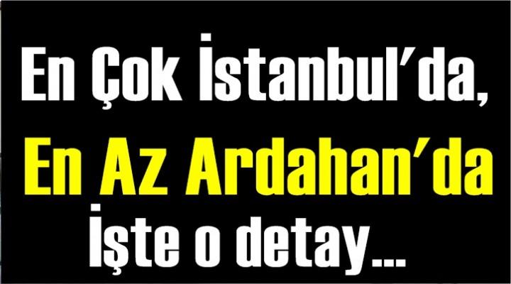 En çok İstanbul'da, en az Ardahan'da