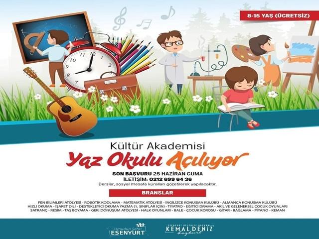 Esenyurt'ta Kültür Akademisi Yaz Okulu Açılıyor
