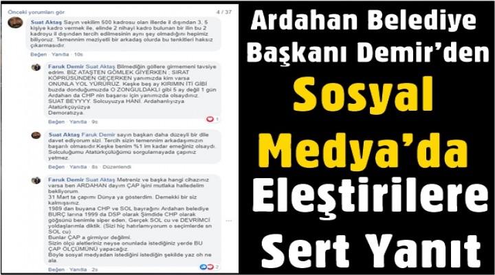 Başkan Demir'den Sosyal Medya'da Eleştirilere Sert Yanıt