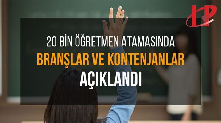 MEB 20 bin öğretmen atamasında branşları ve kontenjanları açıkladı