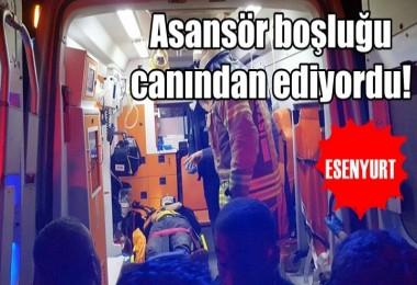 Esenyurt'ta 3'üncü kattan asansör boşluğuna düşen genç, ağır yaralandı