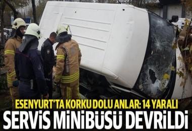 Esenyurt'ta servis minibüsü kaza yaptı: Çok sayıda yaralı var