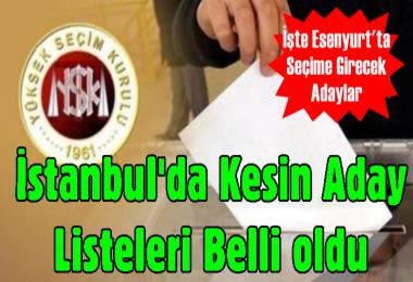 İstanbul'da Kesin Aday Listeleri Belli oldu