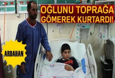 Ardahan'da Üzerine Yıldırım Düşen Çocuğu Babası Kurtardı