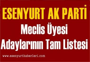 Ak Parti Esenyurt Belediyesi Meclis Üyesi Tam liste