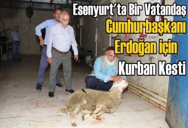 Esenyurt'ta bir vatandaş Erdoğan için kurban kesti