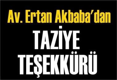 Av. Ertan Akbaba'dan Teşekkür