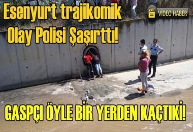 Esenyurt'ta Gaspçı Polisi görünce Kanalizasyona Kaçtı!