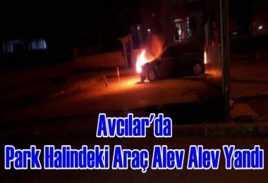 Avcılar'da Park Halindeki Araç Alev Alev Yandı
