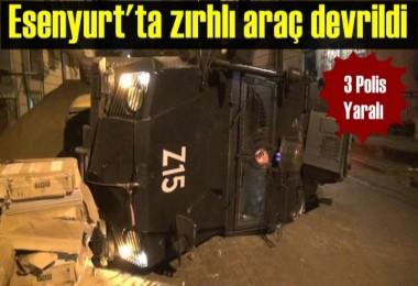 Esenyurt'ta zırhlı araç devrildi