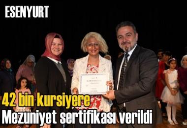 Esenyurt'ta  42 bin kursiyere mezuniyet sertifikası