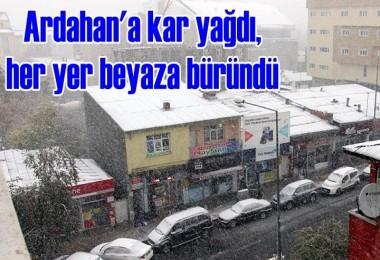 Ardahan'a kar yağdı, her yer beyaza büründü