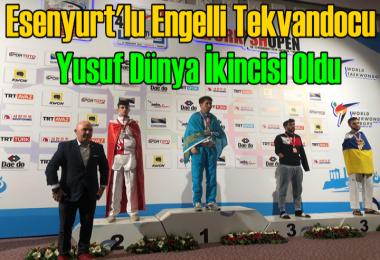 Esenyurt'lu Engelli tekvandocu Yusuf dünya ikincisi