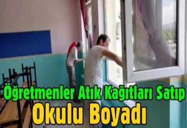Öğretmenler atık kağıtları satıp okulu boyadı