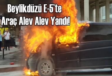 Beylikdüzü E-5'te araç yangını
