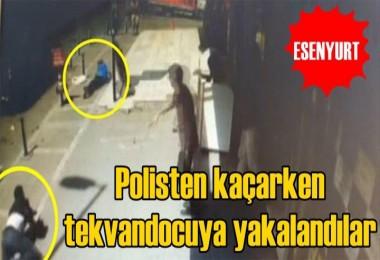 Polisten kaçan hırsızlar tekvandocuya yakalandılar