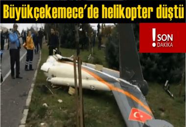 Büyükçekemece'de helikopter düştü