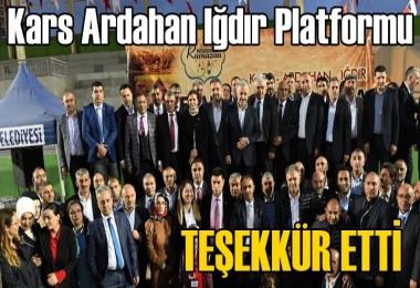 Kars Ardahan Iğdır Platformu'ndan Teşekkür