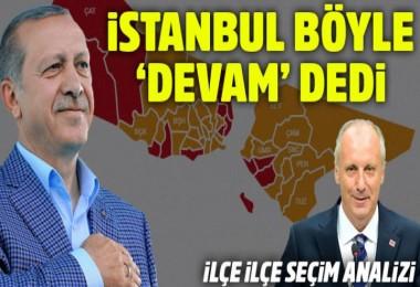 İlçe ilçe İstanbul seçim sonuçları: Erdoğan böyle fark attı