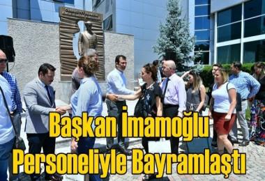 Ekrem İmamoğlu personeliyle bayramlaştı