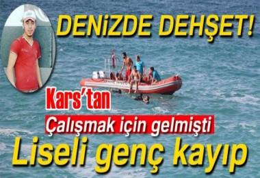 Kars'tan gelen liseli genç girdiği denizde kayboldu