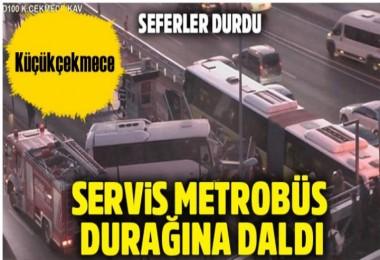 Küçükçekmece'de Servis metrobüs yoluna girdi