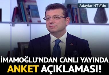 Ekrem İmamoğlu'ndan canlı yayında anket açıklaması