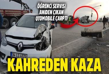 Hadımköy'de servis kaza yaptı