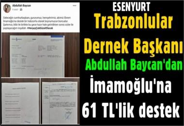 Baycan'dan İmamoğlu'na 61 TL'lik destek