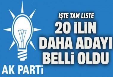 AK Parti'de 20 ilin adayı belli oldu...