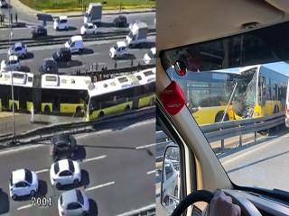 Avcılar'da feci kaza iki metrobüs kafa kafaya çarpıştı!