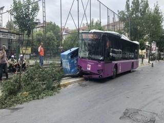 Fenelaşan Otobüs şoförü önce konteynıra ardından ağaca çarptı