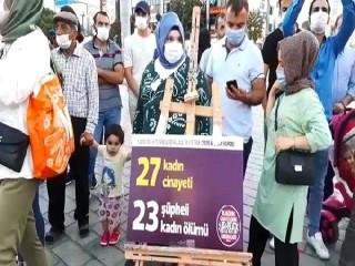 Esenyurt'ta kadın cinayetlerine dikkat çekme sergisi açıldı