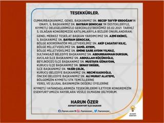 AK Parti Esenyurt İlçe Başkanlığı'ndan Teşekkür