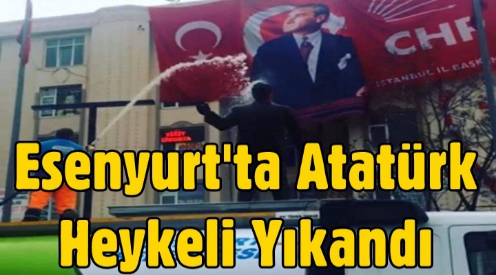 Esenyurt'ta Atatürk Heykeli Yıkandı