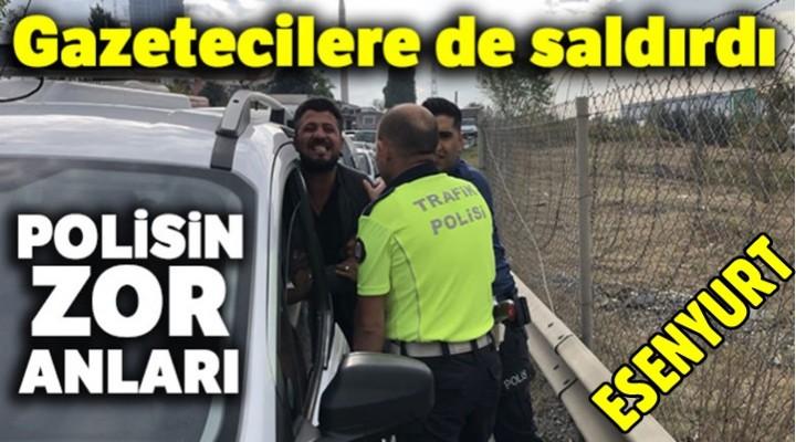 Esenyurt'ta Kaza yapan alkollü sürücü polise zor anlar yaşattı